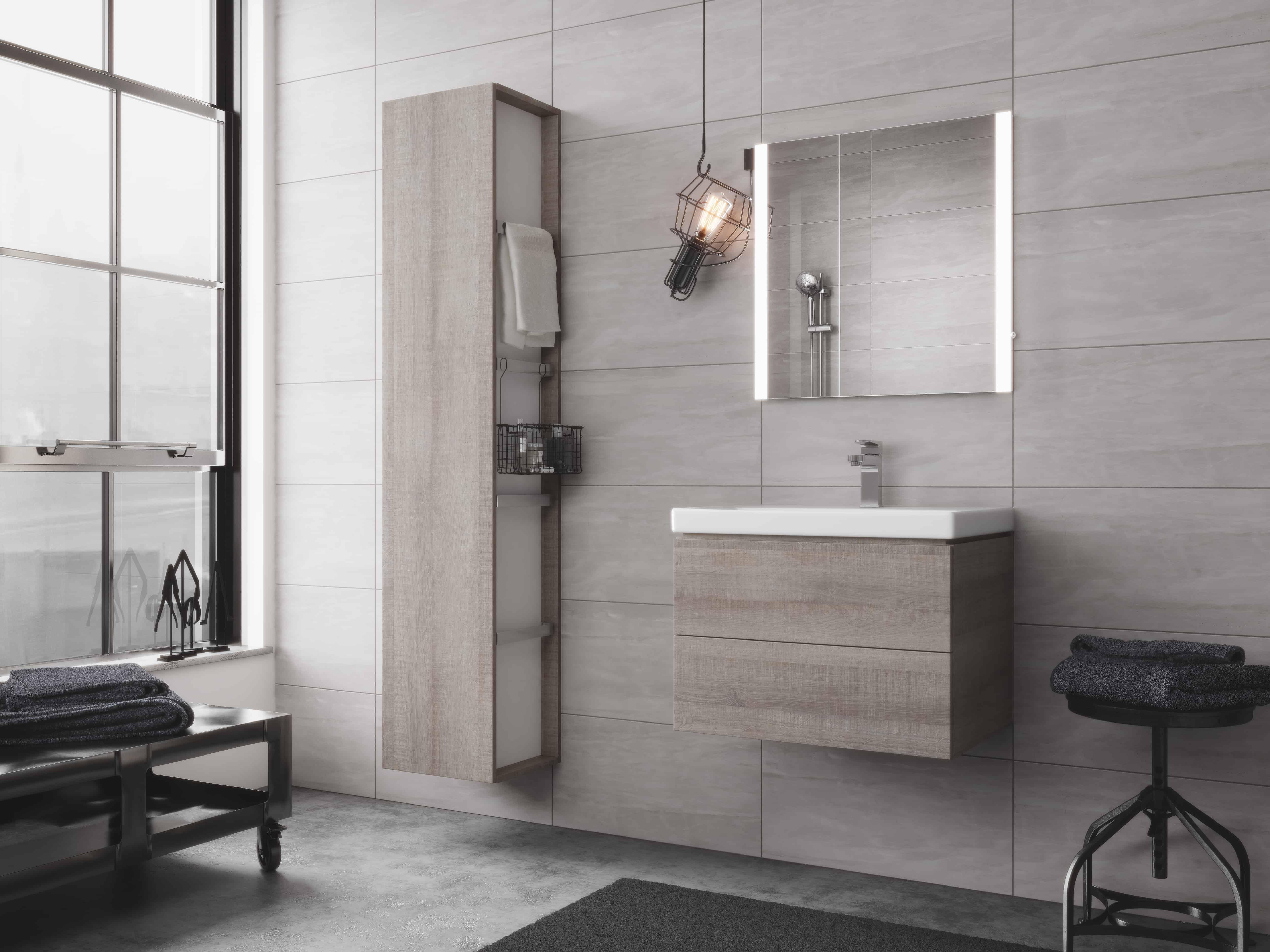 City Side Cabinet Grey Oak Niko Bathrooms
