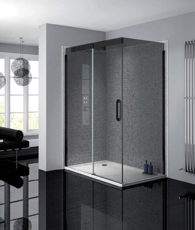 Smoked Glass Sliding Shower Door 1200mm Right Niko Bathrooms